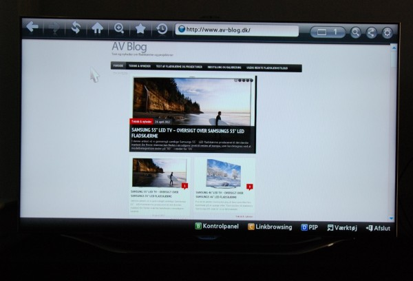 Samsung UE55ES8005 web browser