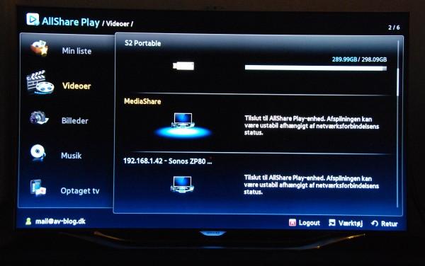 Samsung UE55ES8005 AllShare Play